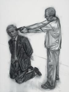 Autorretrato matando Bush, 2005, carvão sobre papel, 200 x 150 cm