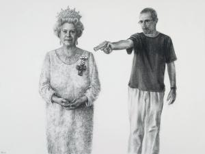 Autorretrato matando Elizabeth II, 2005, carvão sobre papel, 150 x 200 cm