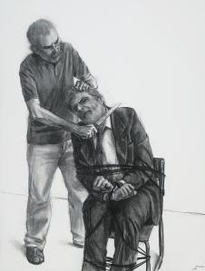 Autorretrato matando Lula, 2005, carvão sobre papel, 200 x 150 cm.