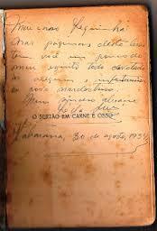 """Manuscrito do poema """"O sertão em carne e osso"""" 1954"""